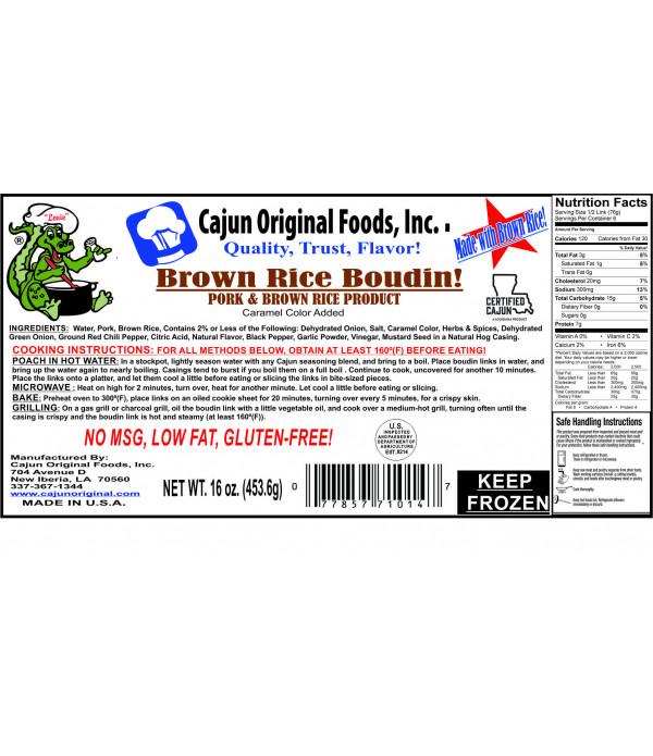 Cajun Original Brown Rice Boudin 1lb