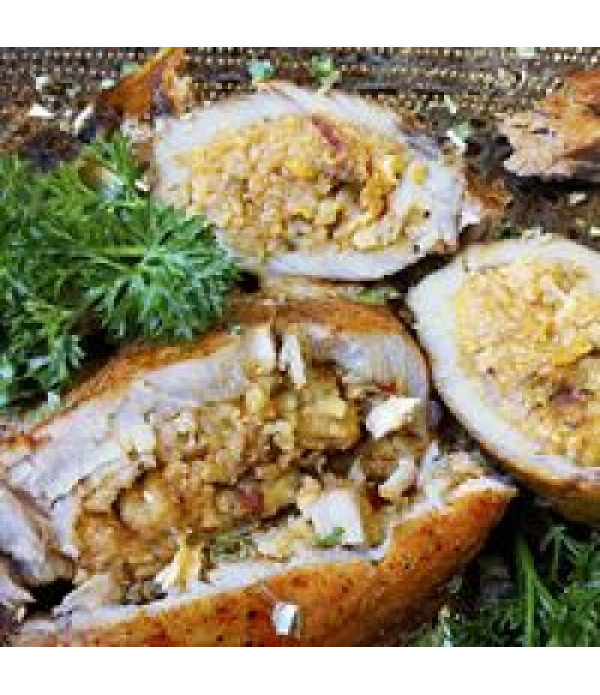 Comeaux's Stuffed Pork Chops w/ Crawfish Boudin