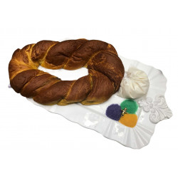 Bavarian King Cake with icing on side